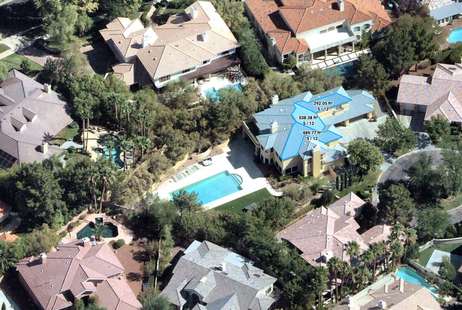 Oblique aerial imagery of residential roof measurements - Las Vegas, NV - 5 July 2018