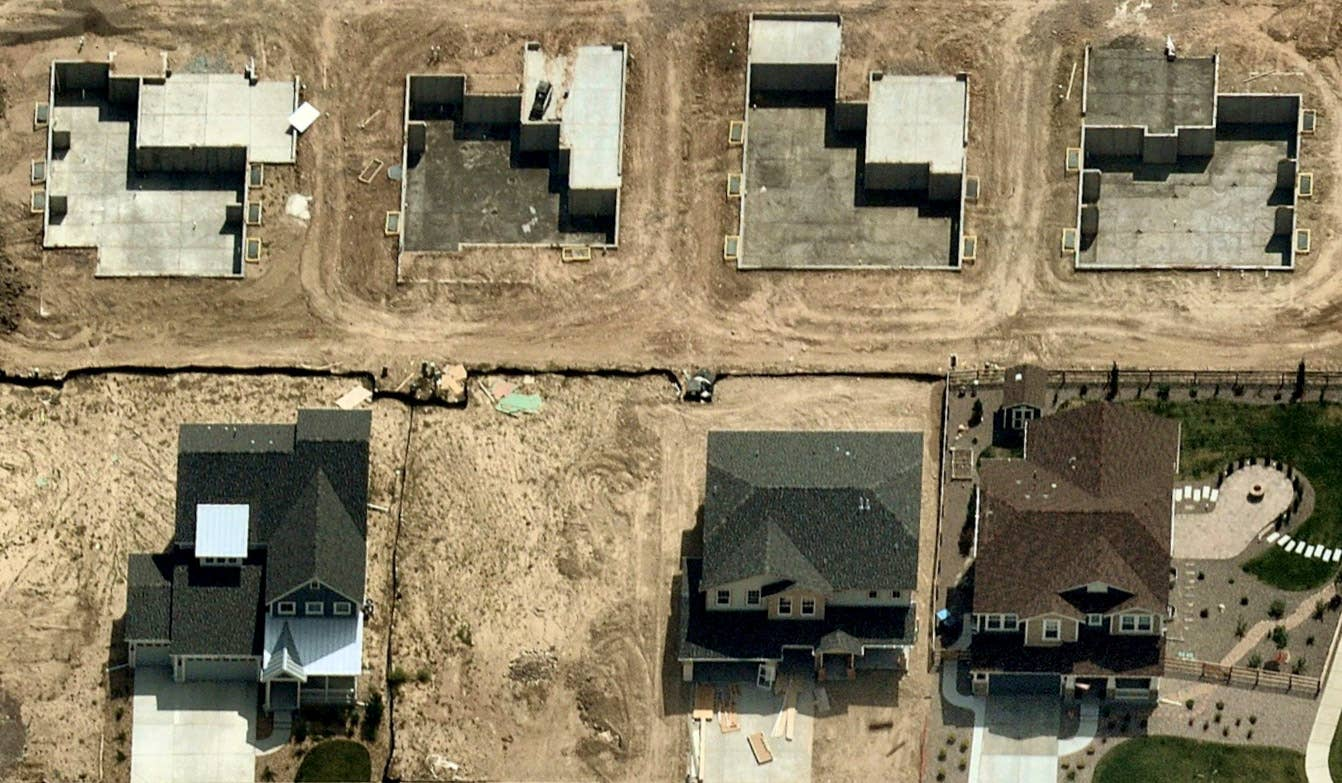 Oblique aerial view, landscaping in progress, Arvada CO -- 27 June 2018