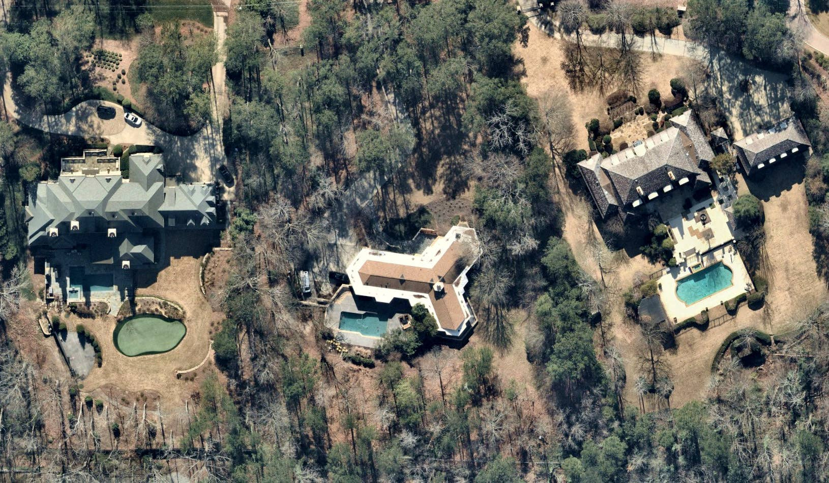 Overhead view, neighborhood pools, Atlanta GA -- 9 January 2019