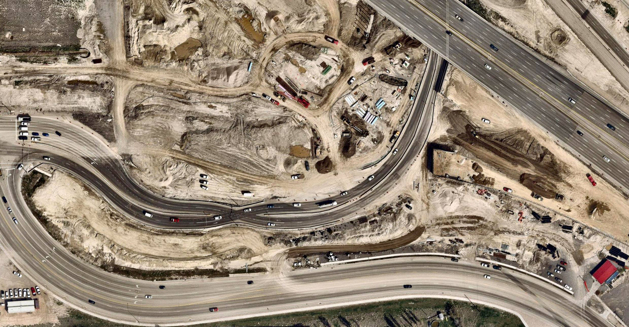 Aerial view, road and commercial paving, Lehi UT -- 4 April 2019