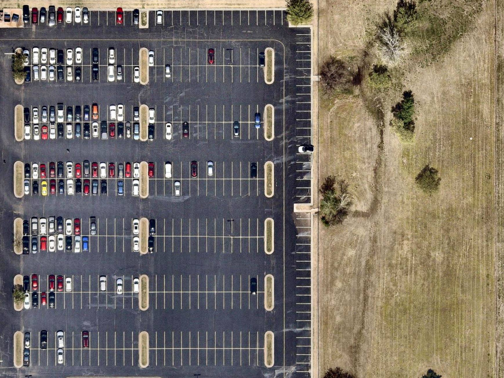 Overhead view, fresh parking lot, Oklahoma City, OK -- 8 April 2019
