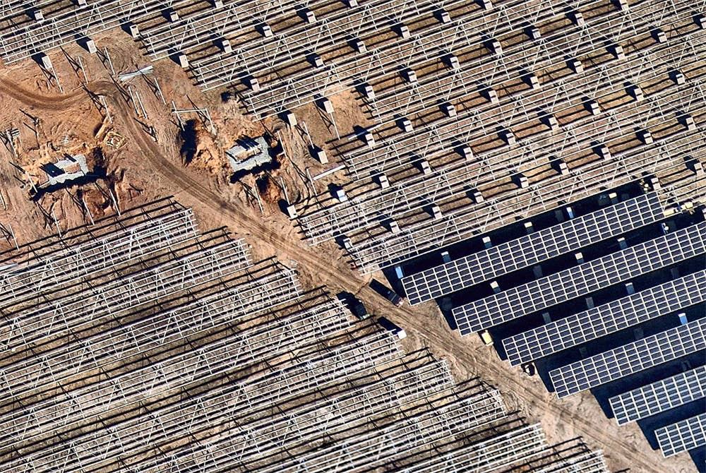 High-resolution overhead view of commercial solar farm installation - Jackson, NJ - 7 November 2018