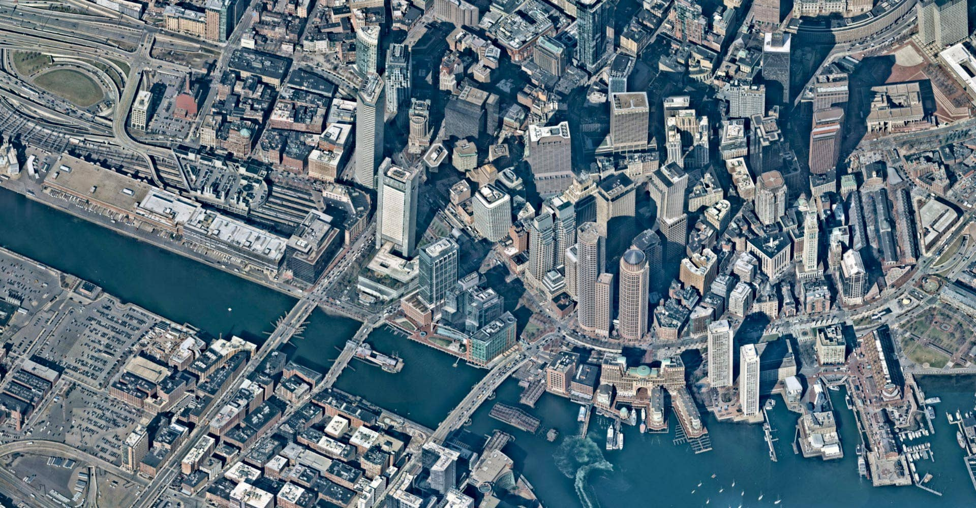 Aerial view of downtown Boston and wharf -- 11 April 2019