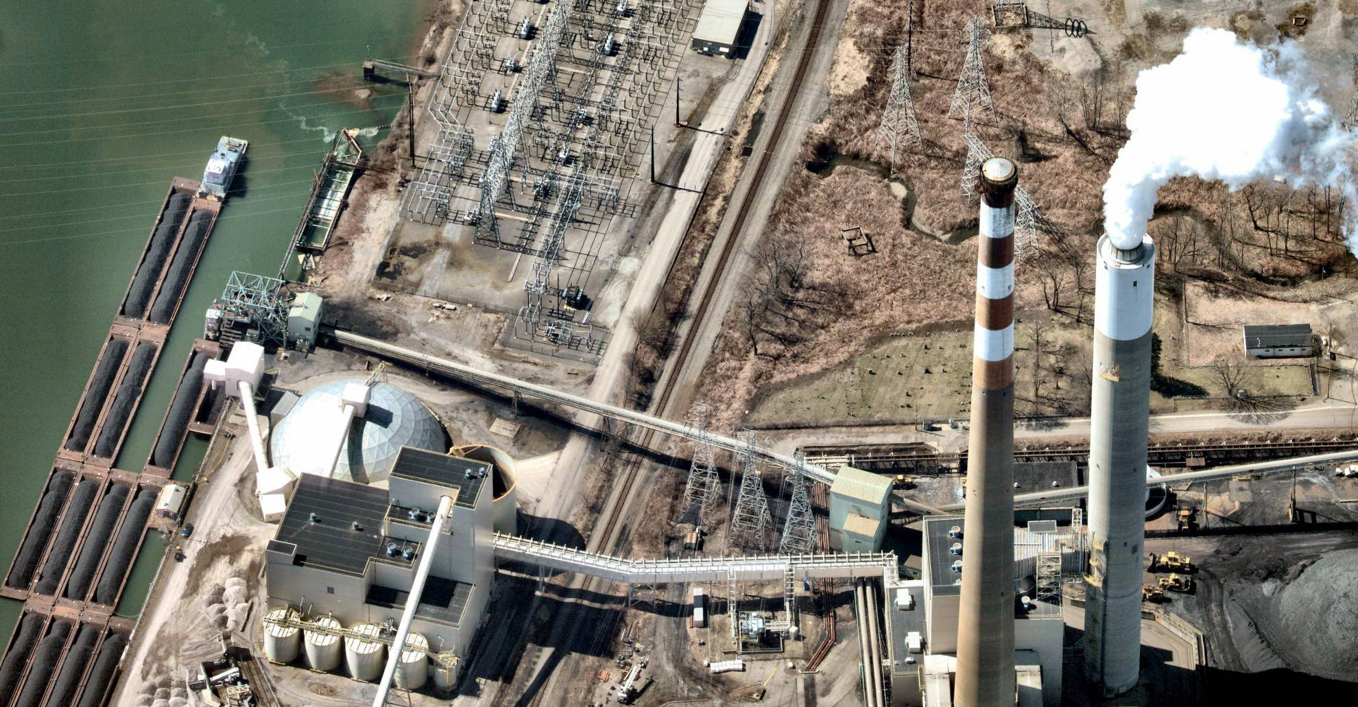 Aerial photo, Cheswick Generating Station, Springdale PA -- 27 March 2019
