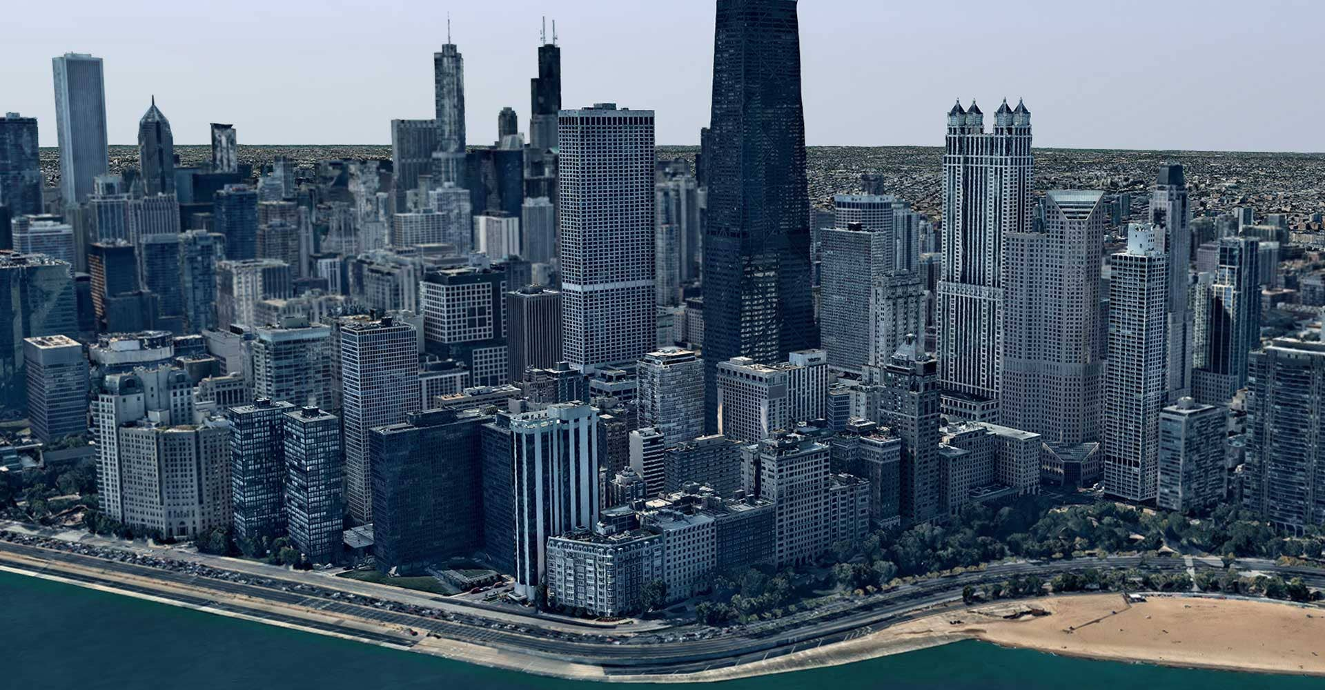 3D aerial map and data of Chicago, IL skyline
