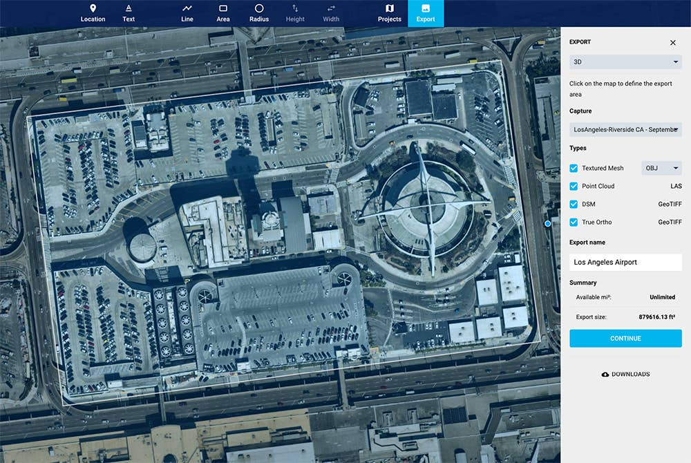 On-demand export of 3D data from MapBrowser - Los Angeles Airport, September 26, 2018