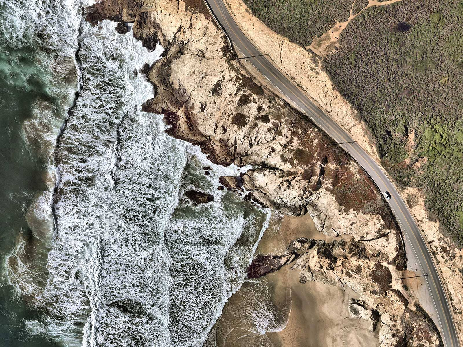 High resolution aerial image of the Cabrillo Highway, California