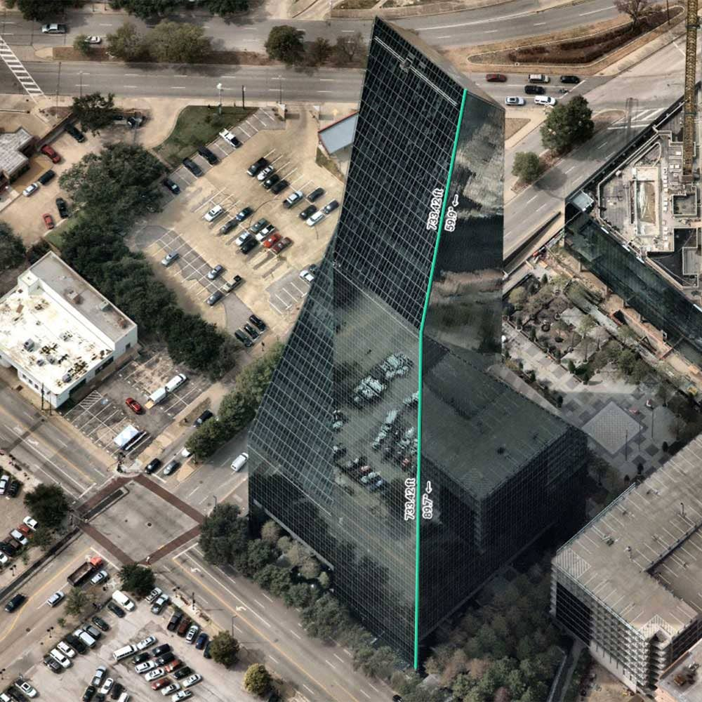 Mapbrowser measurements on oblique image of Fountain Place Building, Dallas, Texas