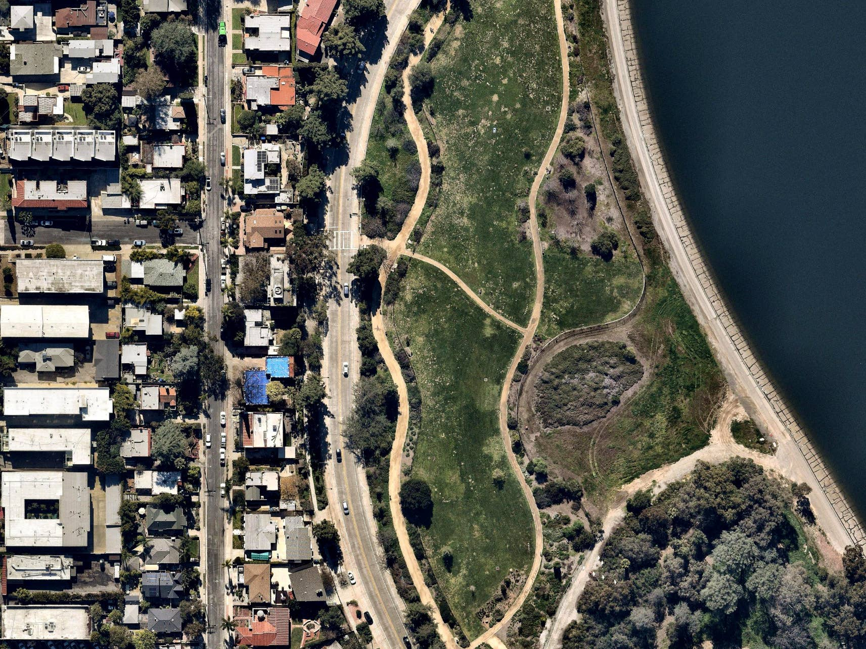 Orthographic view, Silver Lake Reservoir, Los Angeles, CA -- 22 February 2019