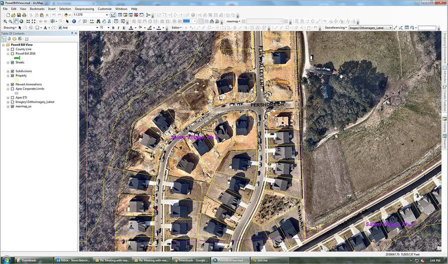 Aerial imagery viewed within ArcMAP, City of Apex, NC