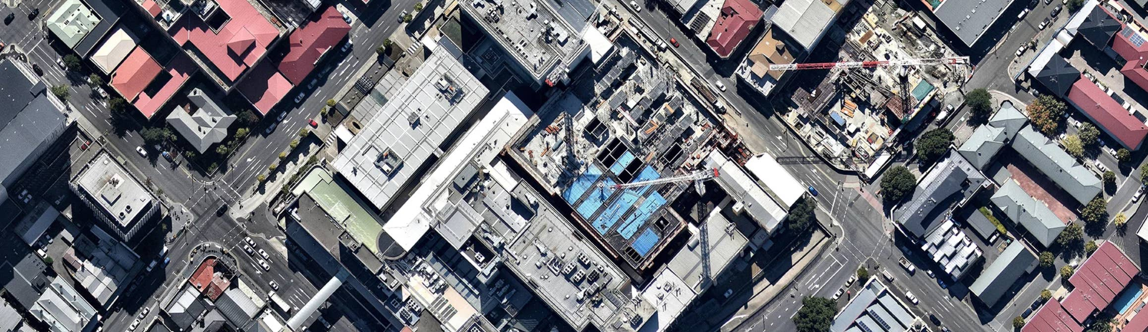 aerial, hospital, construction, city planning. Hobart, Tasmania, 2018 June 03