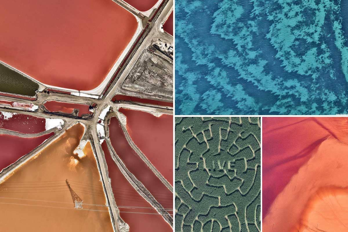 Set of four colorful aerial images