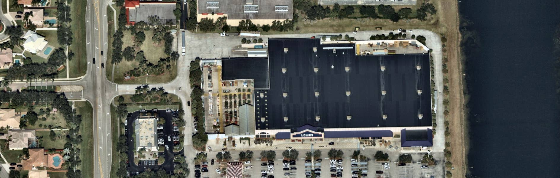aerial, panorama, shopping center, Ft Lauderdale, FL, 2017 Dec 10