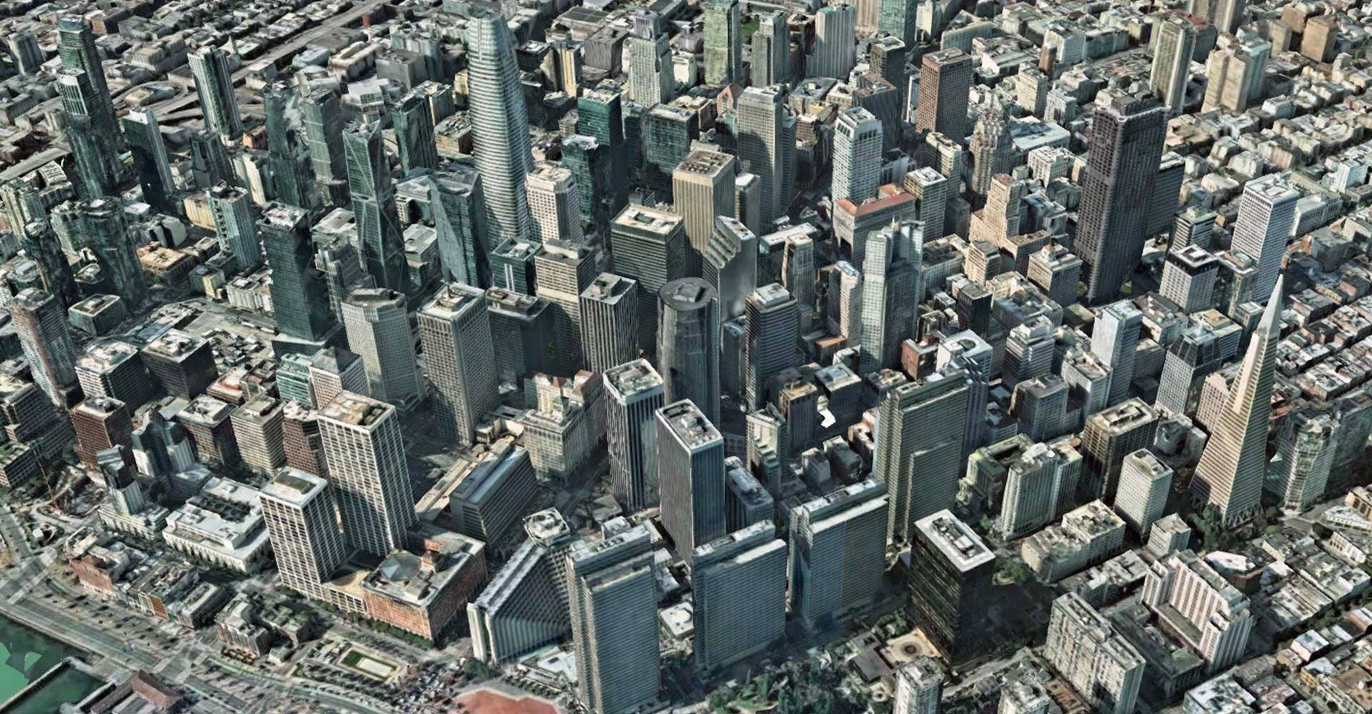 Aerial imagery with 3D images of San Francisco