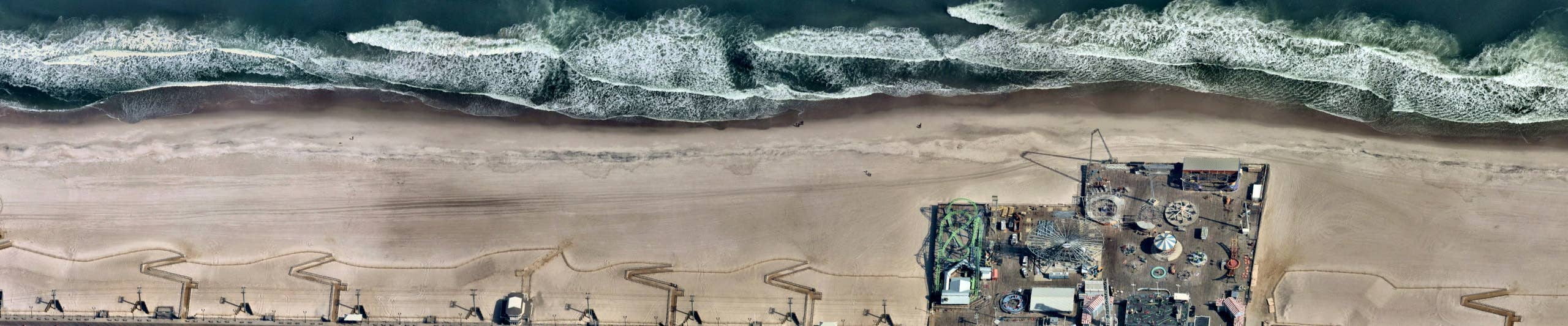 Aerial view, Boardwalk at Seaside Heights, NJ -- 11 March 2019