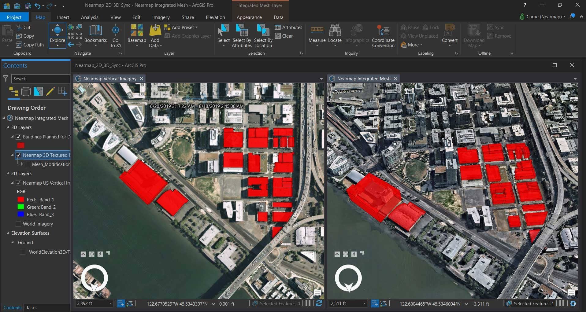 Esri's ArcGIS Pro using Nearmap vertical imagery on the left and 3D textured mesh in SLPK format on the right.