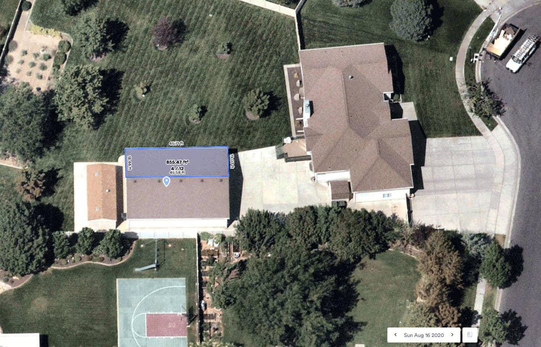 Measuring the area, perimeter and pitch of a roof using high resolution aerial imagery