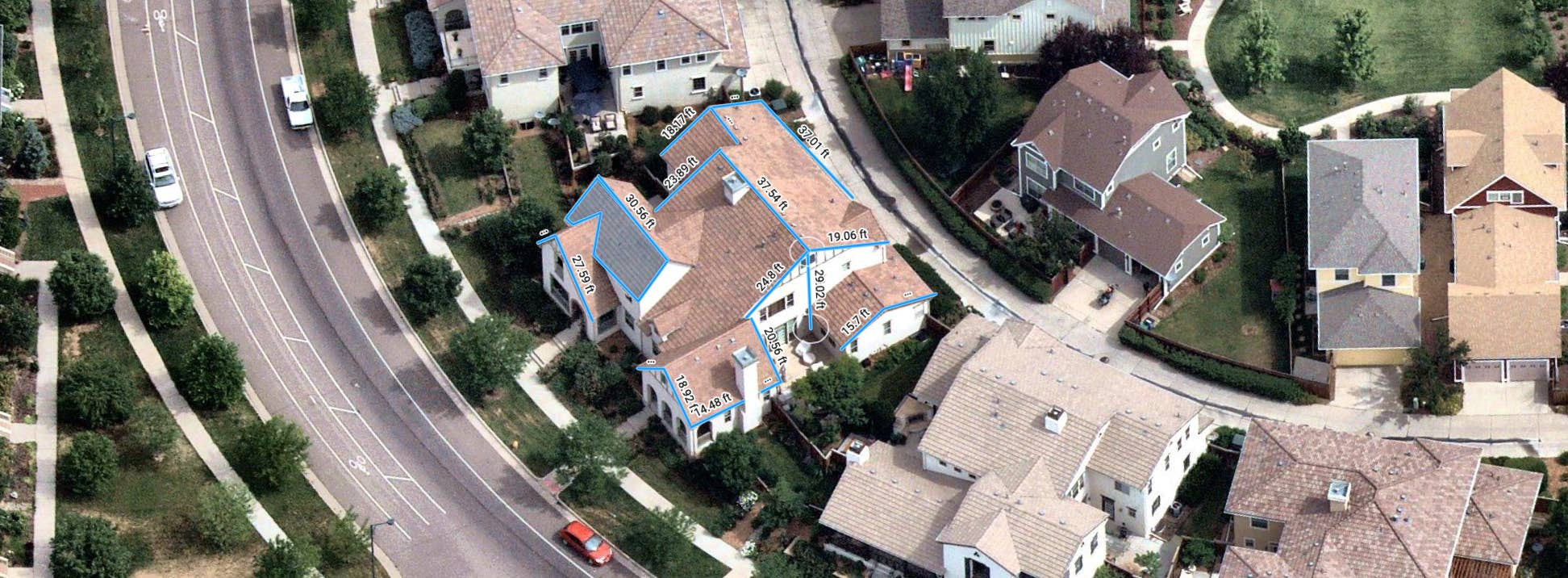 aerial, aerial view, roofing, measurements, Denver, CO, 2018 June 23