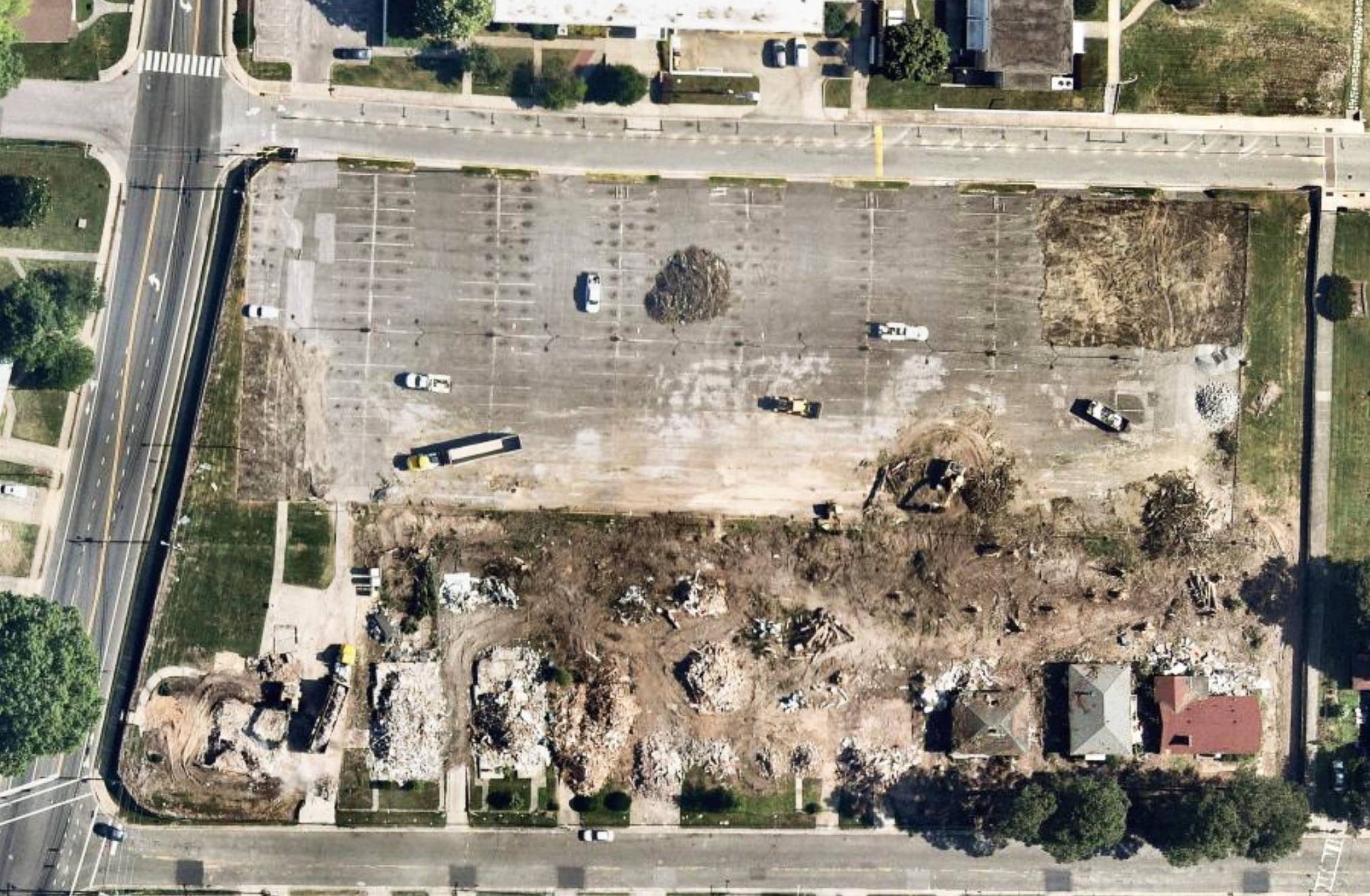 aerial, construction, razing, Durham, NC, 2019 May 19