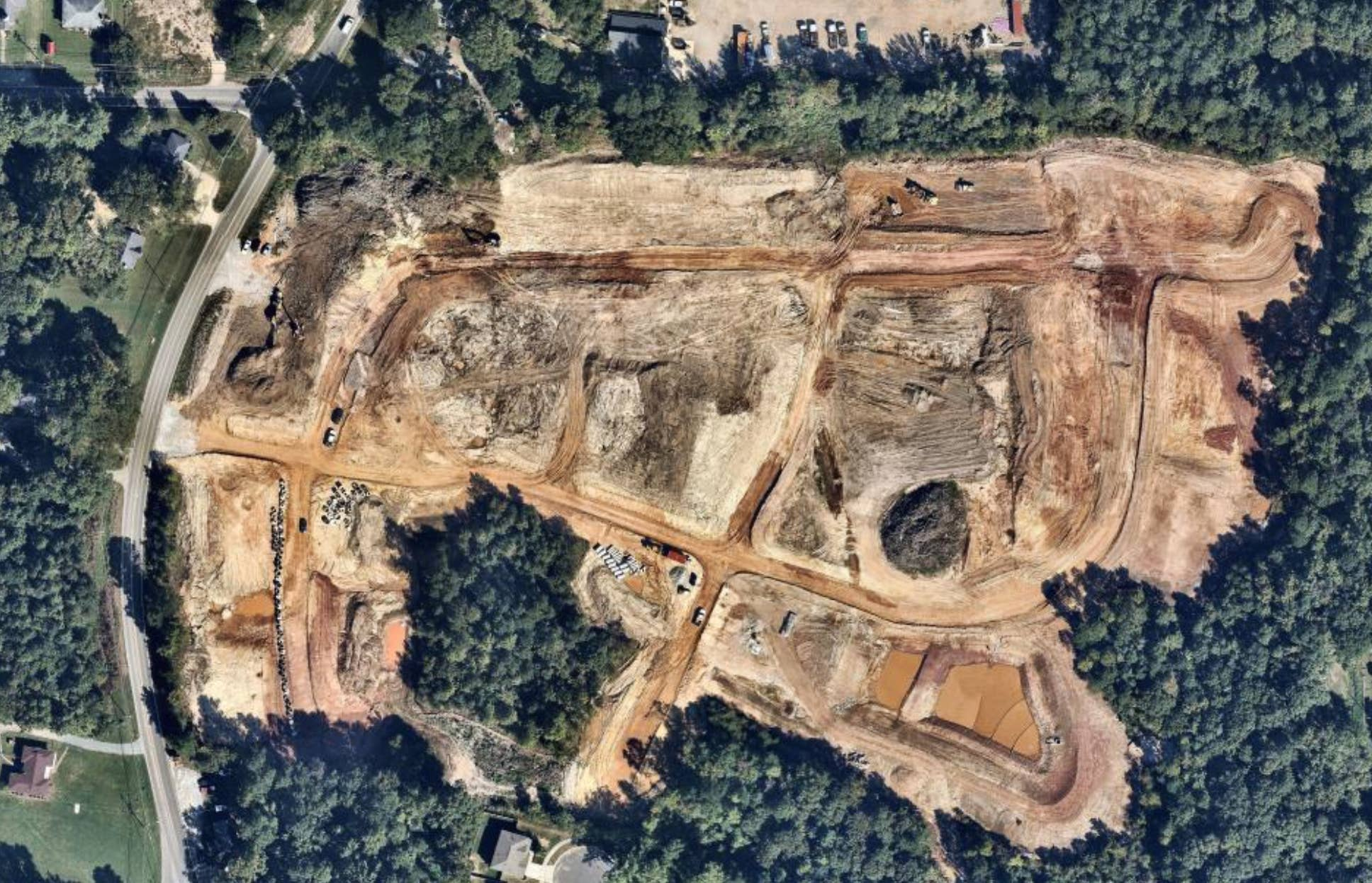 aerial, development, construction, Durham, NC, 2018 October 01