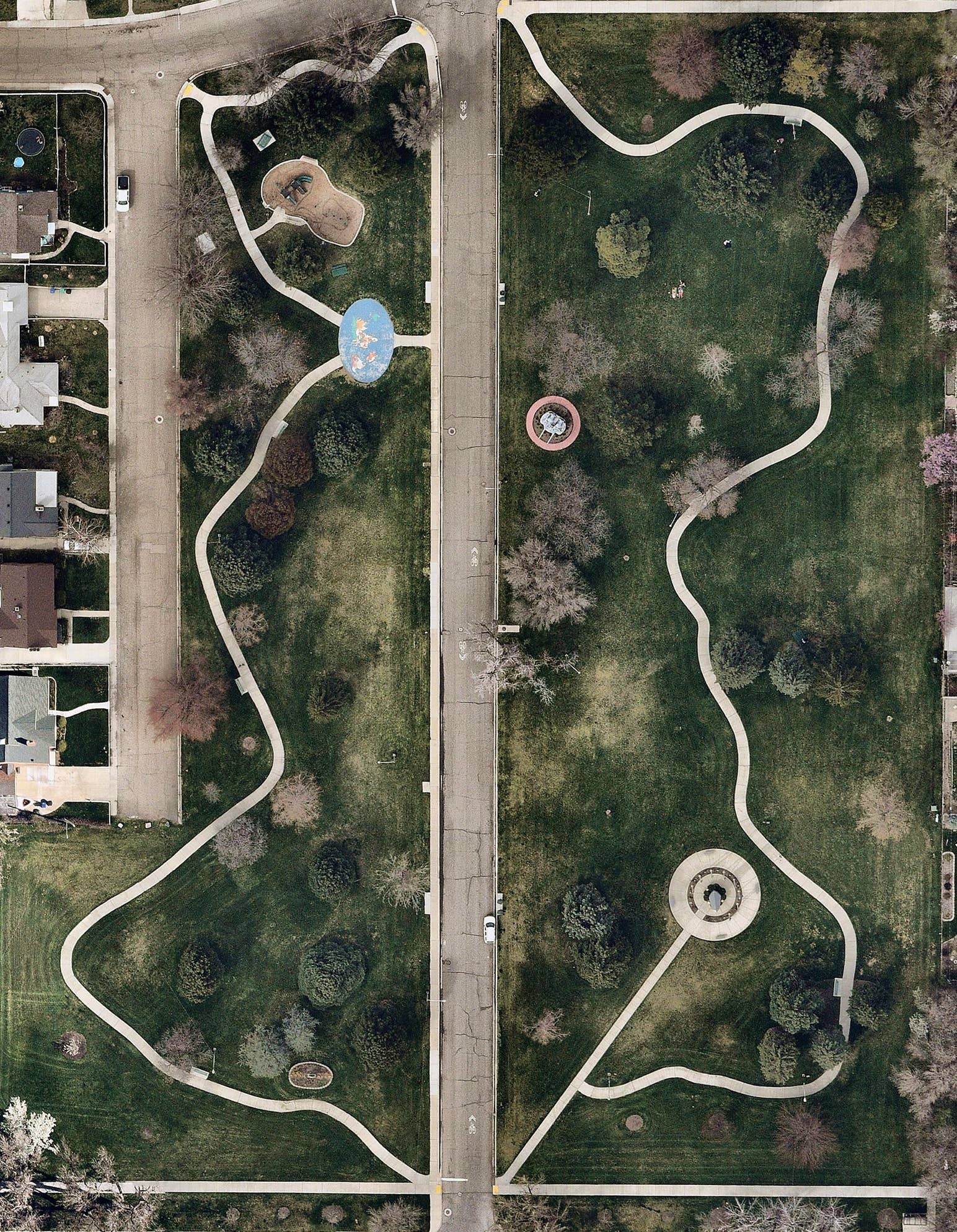 aerial, landscaping, park, Provo, UT, 2019 April 04
