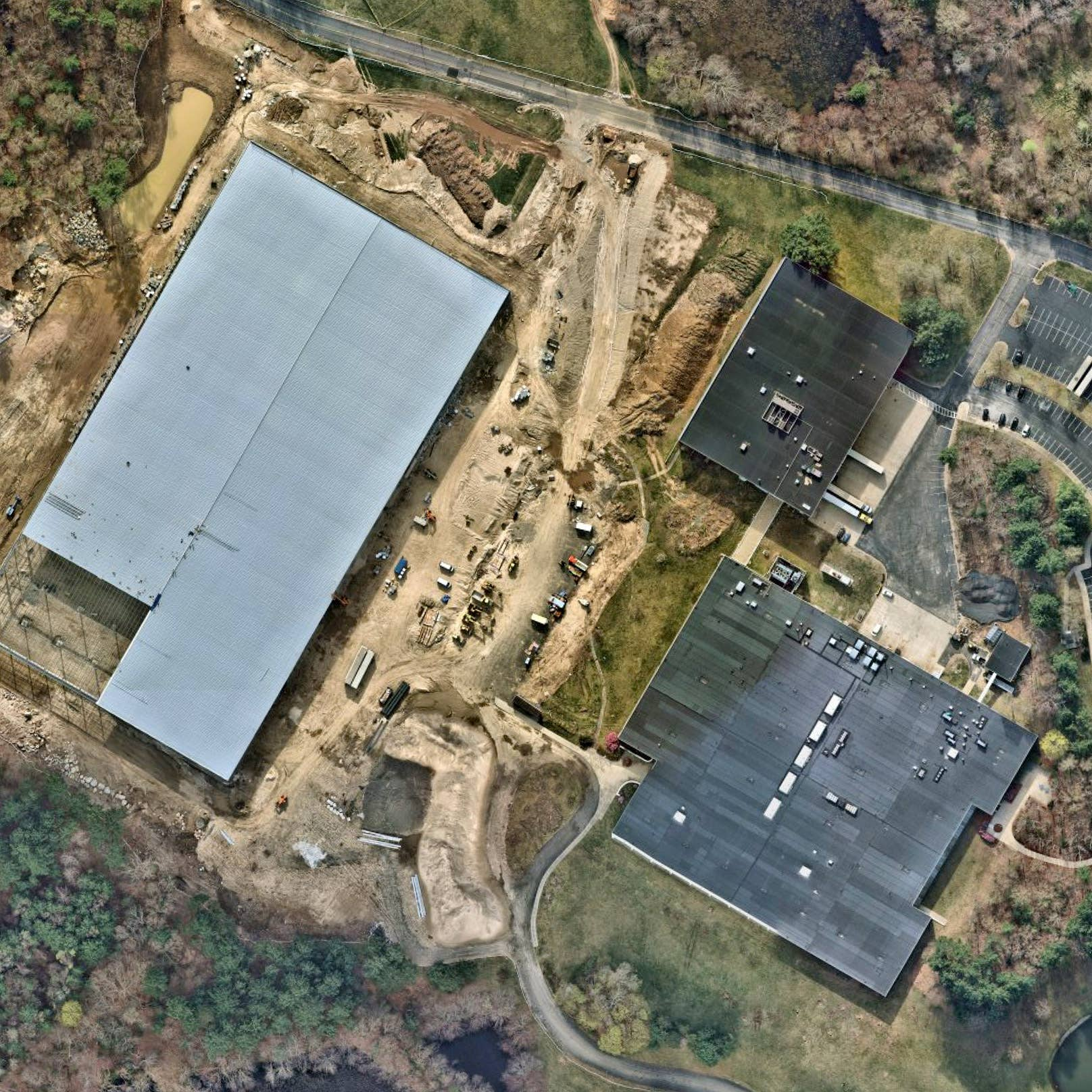 Overhead aerial view map of Financial Park land development project - Franklin, MA - 11 April 2019