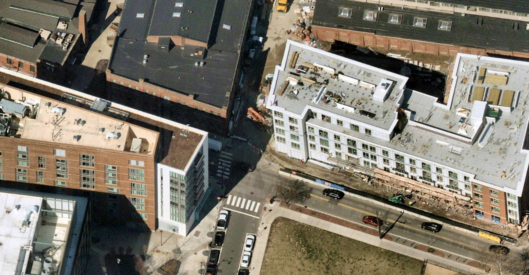 Oblique aerial photo of post-infrastructure upgrade construction on 249 Third Street, Cambridge, MA - 11 April 2019
