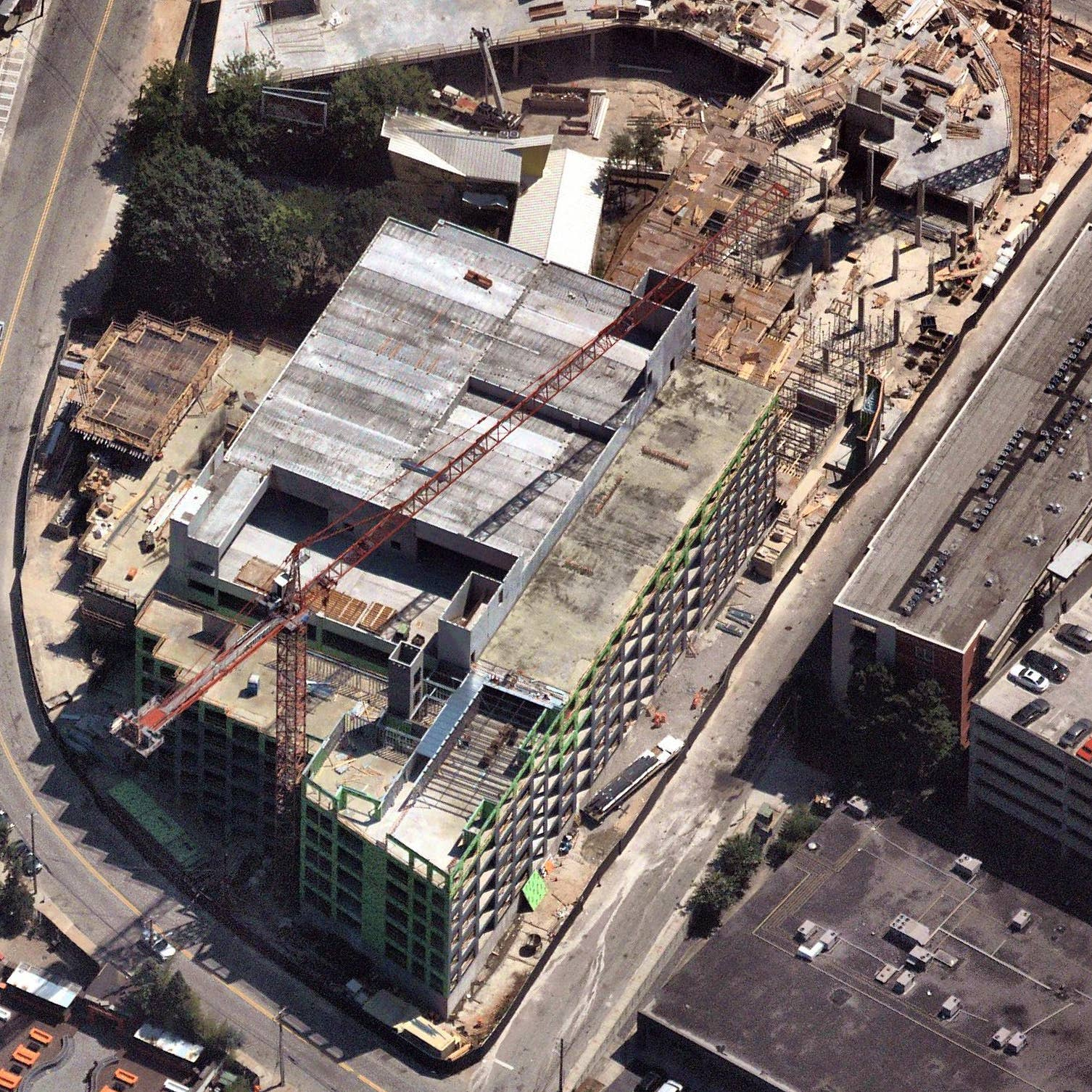High-def oblique aerial view of commercial construction site in Atlanta, GA - 26 May 2019