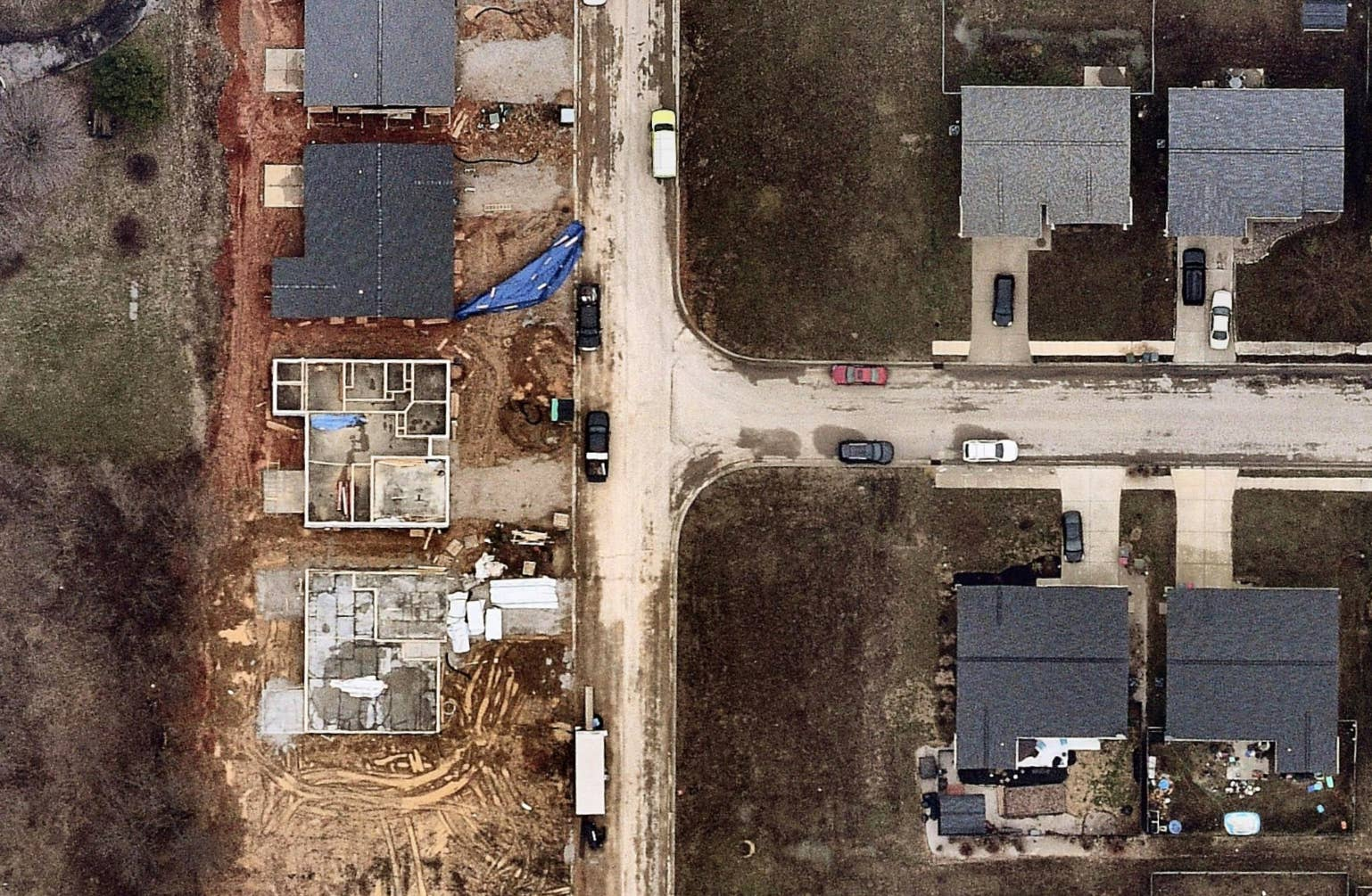 aerial, construction, neighborhood, Chandler, IN, 2019 February 21