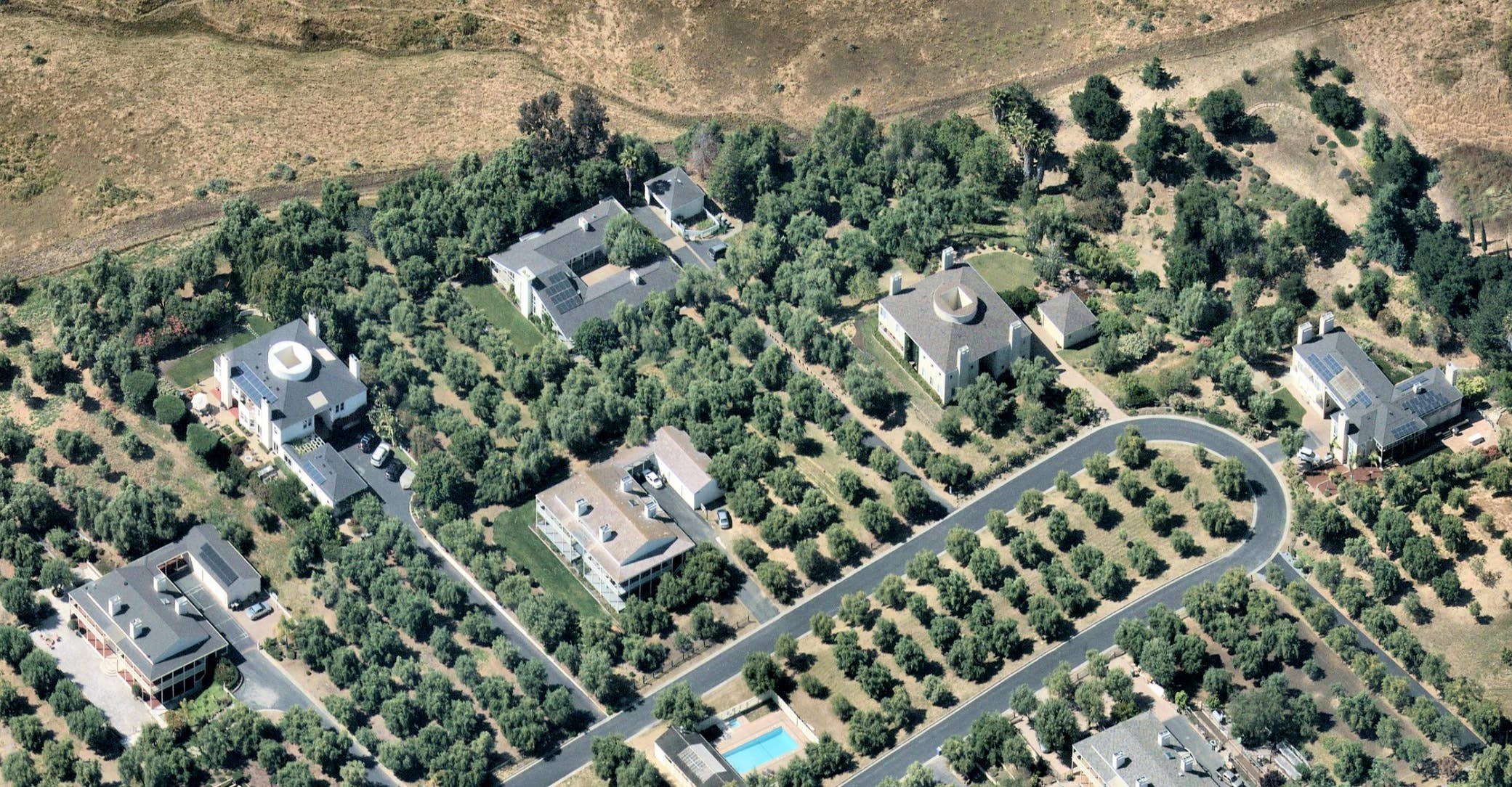 Aerial view, high-end solar homes, Milpitas CA -- 2 June 2019
