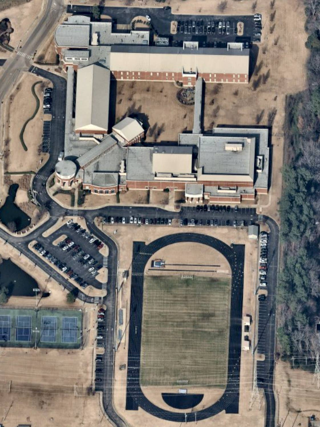 Oblique aerial map view of St. Benedict of Auburndale School in Cordova, TN - 8 January 2019
