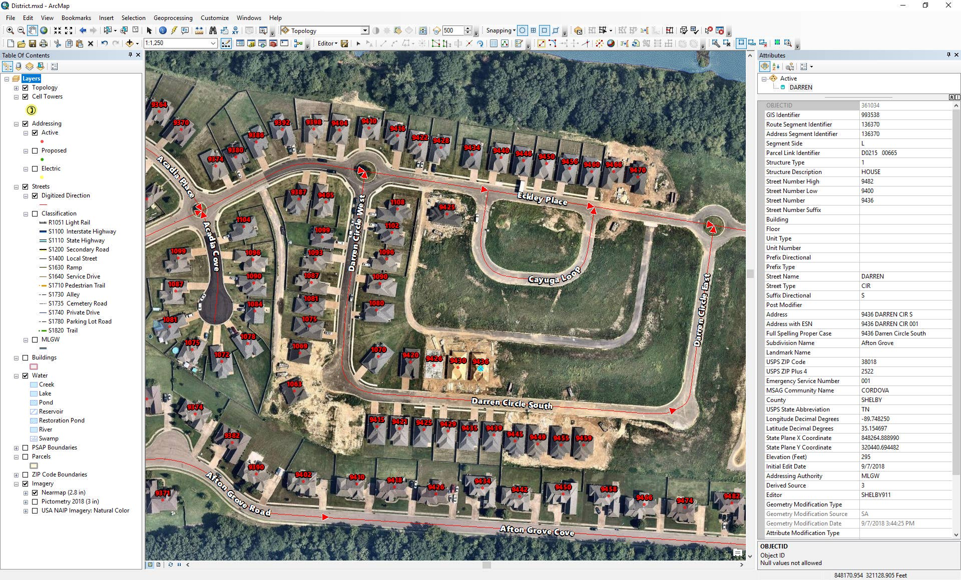 Orthographic aerial maps in Esri ArcMap showing emergency management location data