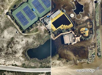 Aerial view of before and after Hurricane Florence, Southport NC -- 19 September 2018