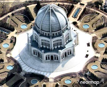Oblique aerial view, Baha'i House of Worship, Wilmette IL -- 23 March 2018