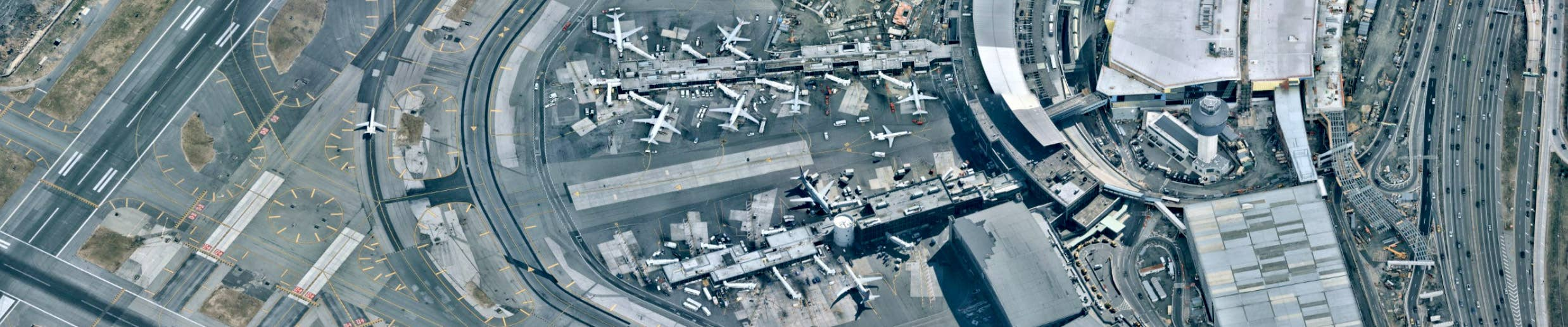 Oblique aerial view, LaGuardia Int'l Airport, Flushing NY -- 24 March 2019