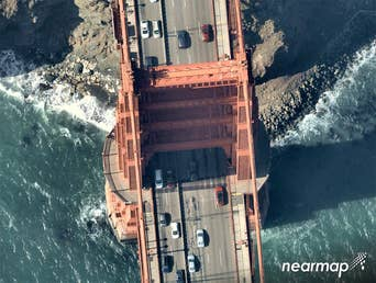 Overhead aerial view of the Golden Gate Bridge's north tower -- 11 July 2018