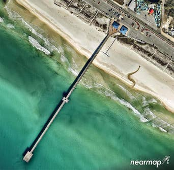 Better than satellite aerial photo of boardwalk on Panama City Beach, FL