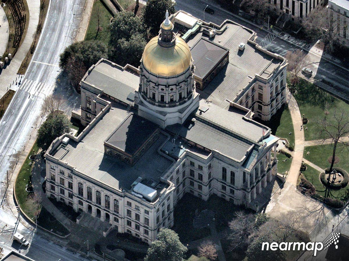 South oblique view, Georgia State Capitol building in Atlanta