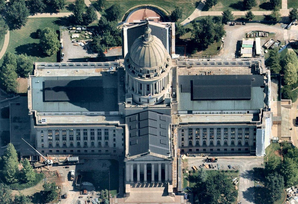 North oblique view, Oklahoma State Capitol building -- 10 July 2018