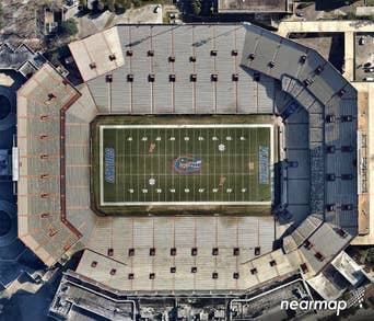High-def aerial photo of Ben Hill Griffin, University of Florida