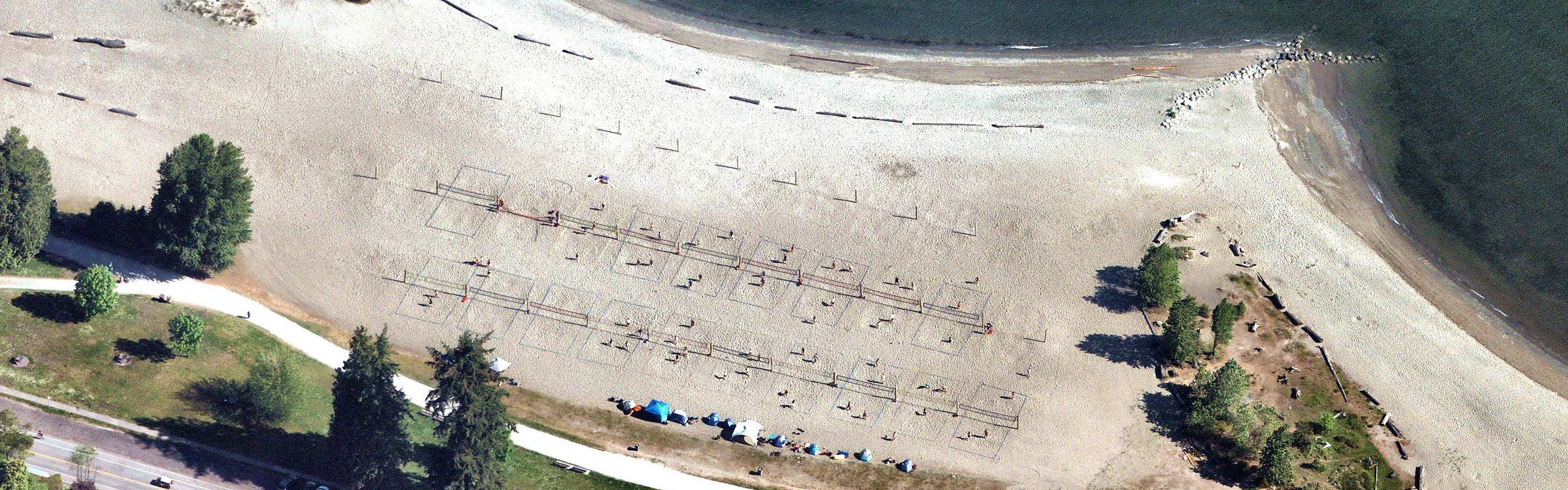 Oblique aerial imagery of beach volleyball courts on Vancouver Beach, BC - 10 May 2019