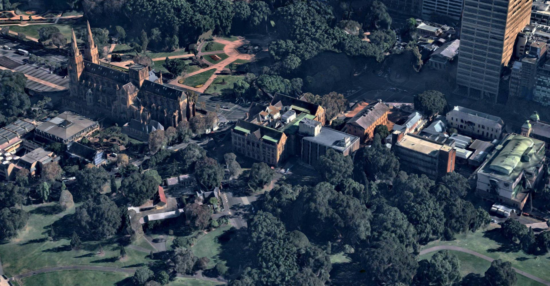 3D aerial view of Hyde Park, Sydney, NSW - April 2018