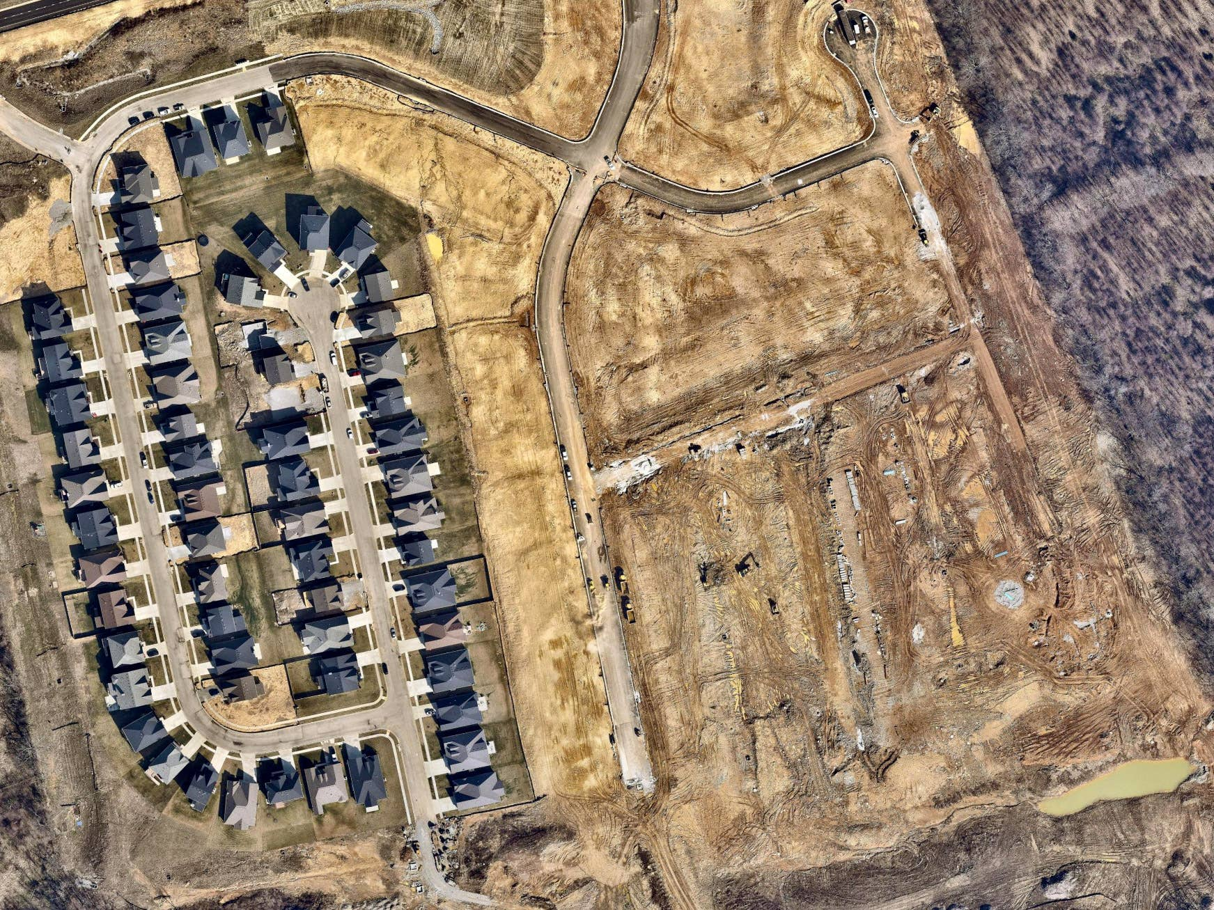 Overhead shot, neighborhood development, Nicholasville KY -- 15 February 2019